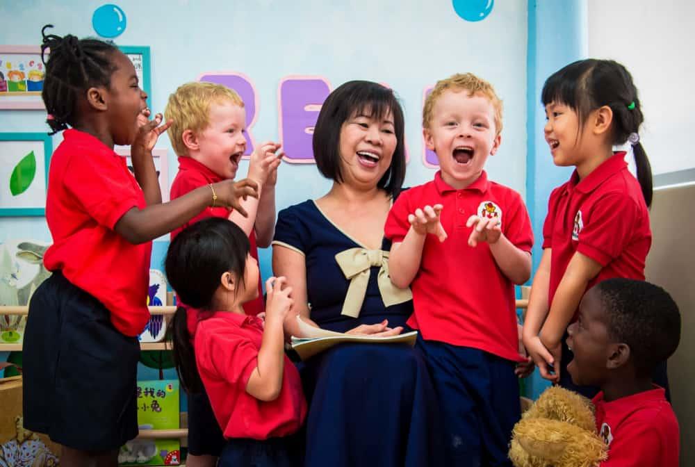 patricia koh with happy children of maplebear