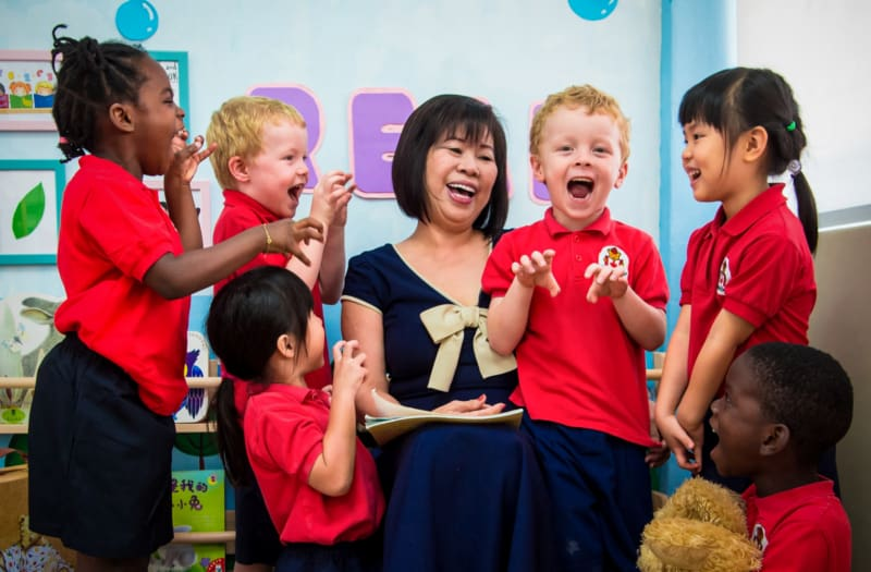 patricia koh with happy children of maplebear
